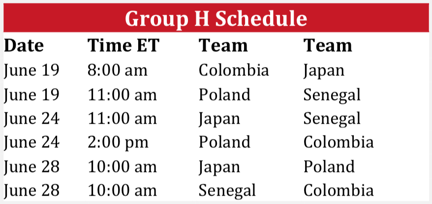 World Cup 2018 Group H Schedule